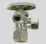 sample image of a single handle three way stop with chrome plating