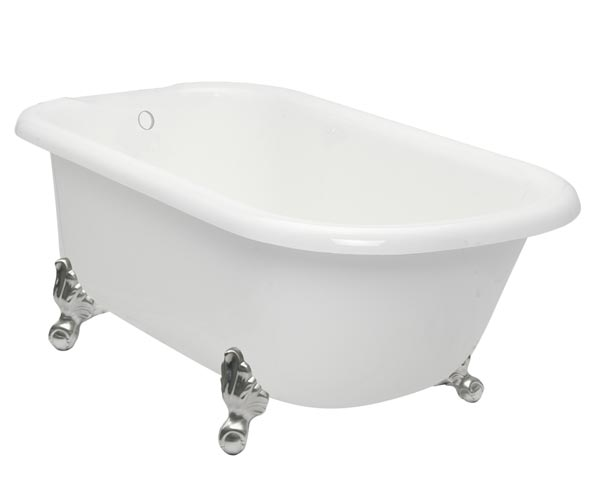 Classic George clawfoot tub with satin nickel feet