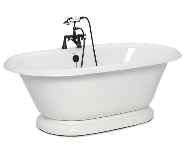 Earl freestanding double tub with pedestal base