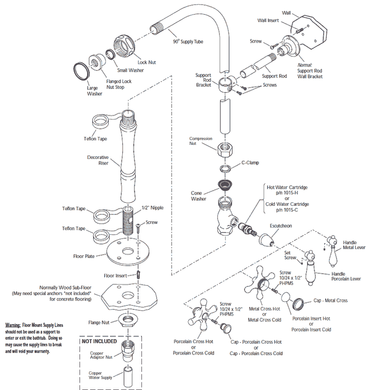 Bathroom Faucet Diagram tub & shower faucets with supply lines