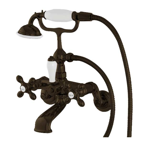 Victorian wall mount faucet, shown in old world bronze