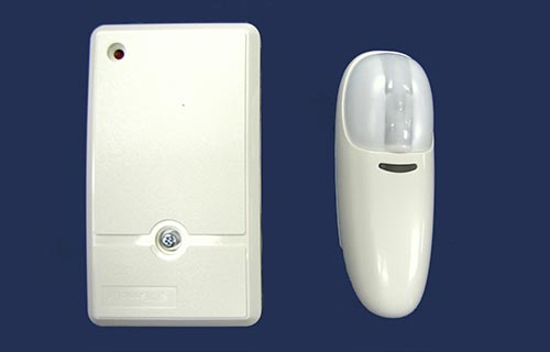 Hardwire receiver and wireless curtain beam motion sensor