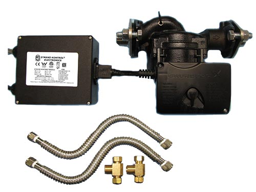 Stainless Steel 3-speed 200 series recirculating pump with copper pipe installation kit