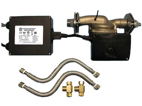 Stainless Steel 3-speed 100 series recirculating pump with copper pipe installation kit