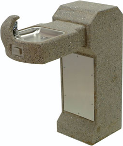 image of one bowl concrete ada pedestal drinking fountain