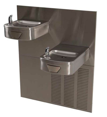 photo of bi-level contoured wall mount water cooler