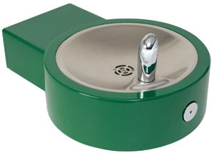 green wall mount drinking fountain example