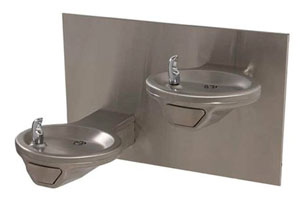 photo of handicap accessible dual level round wall mount stainless steel drinking fountain