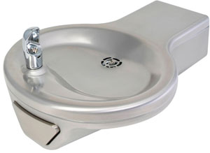 image of handicap accessible round wall mount stainless steel drinking fountain