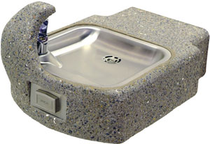 concrete wall mount drinking fountain photo