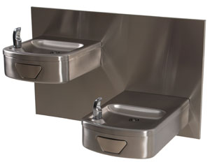 Handicap accessible stainless steel drinking fountain photo