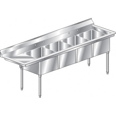 Aero four compartment NSF sinks with left drainboard