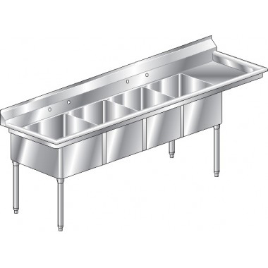 Image of Aero four compartment NSF sink with right drainboard