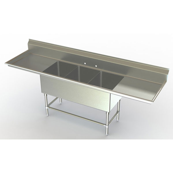 Commercial Triple Sink : These Aero sinks are NSF Approved and are made in the USA using an eco ...