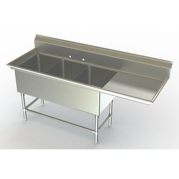 Beau Aero Three Compartment NSF Sink With Right Drainboard