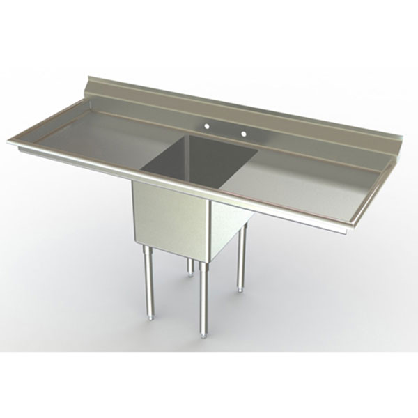 Aero single bowl commercial sinks with dual drainboards