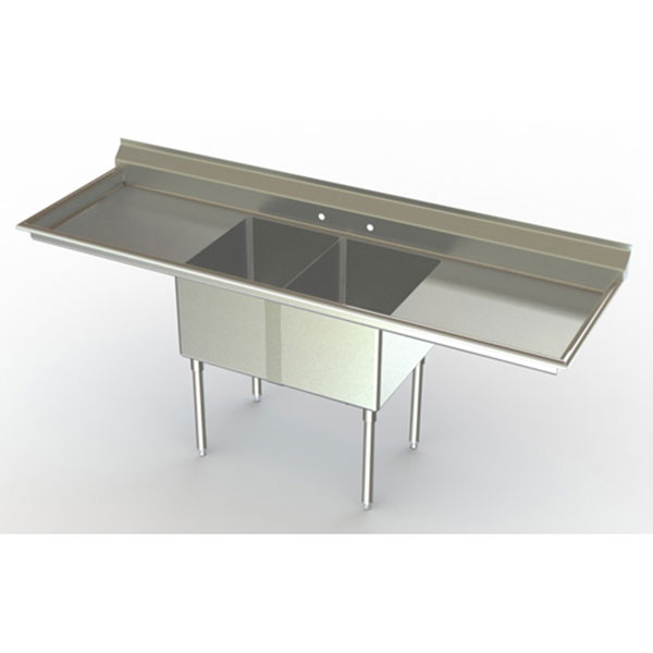 Aero dual compartment NSF sink with dual drainboards