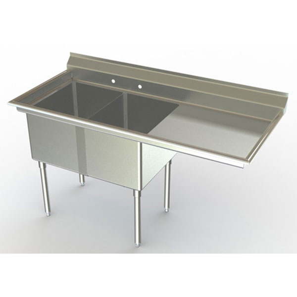 Double Bowl Stainless Steel mercial Sinks with Right Drainboard
