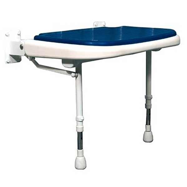 Wide fold-up shower bench with blue pad