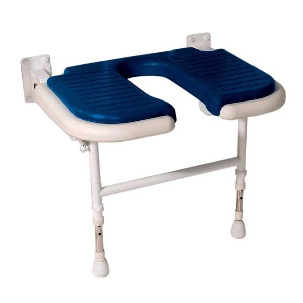 Wide u-shaped shower bench with blue pad