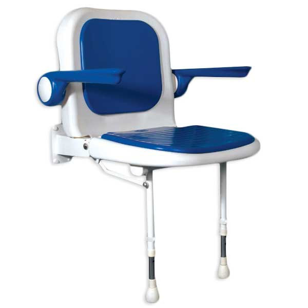 photo of standard sized fold up padded shower seat with back and arms with blue cushions