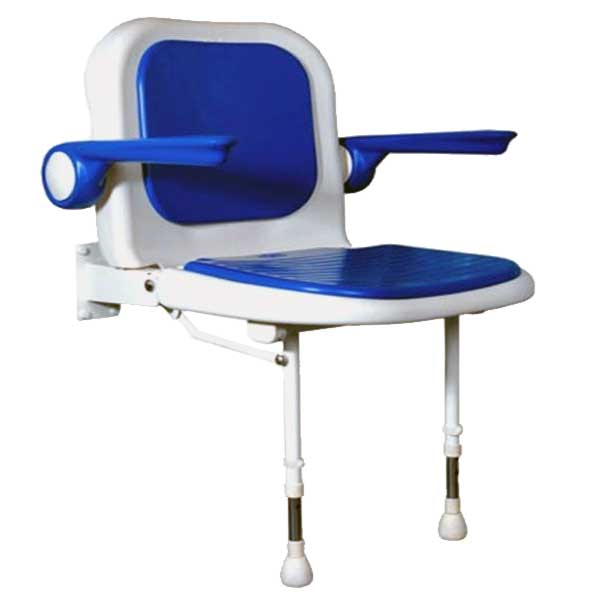 Wide fold-up shower chair with blue accents