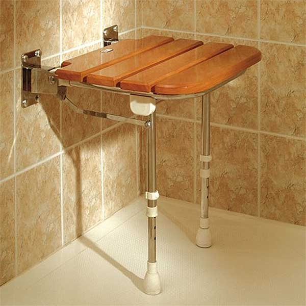Example Of This Foldable Slatted Wooden Shower Seat