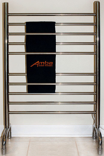 Image of free standing towel warmer with 10 rails, shown in polished stainless