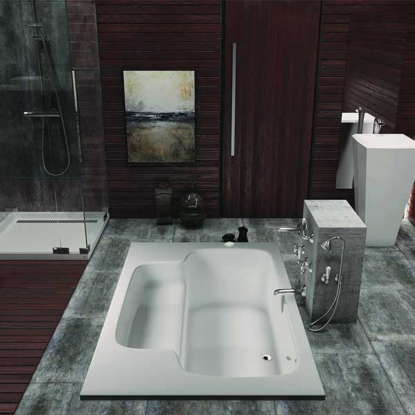 Americh Bahia tub shown installed in bathroom
