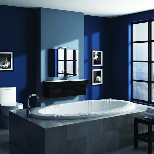 Americh Sandpiper drop-in tub shown installed in bathroom