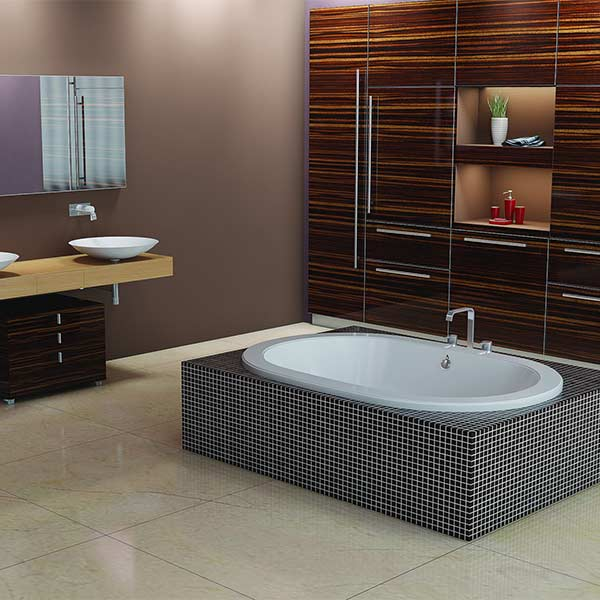 Americh Sol drop-in tub shown installed in bathroom