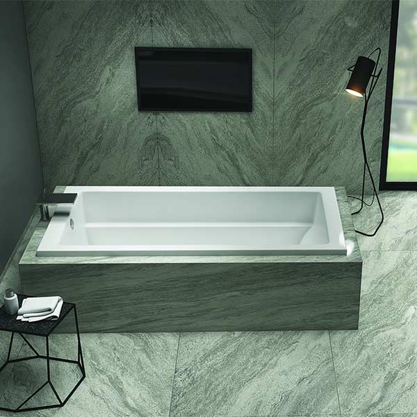 Americh Zephyr tub shown installed in bathroom