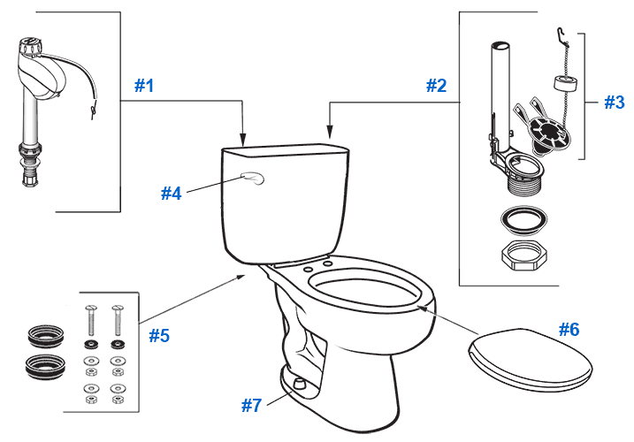 American Standard Toilet Repair Parts For Infinity Series