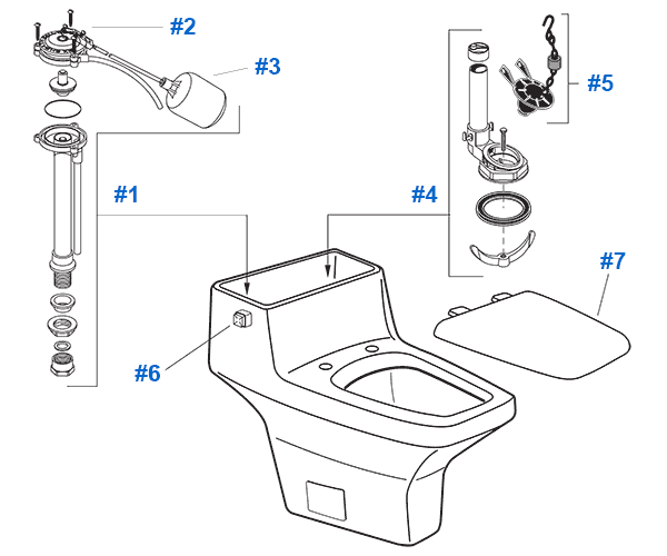 American Standard Toilet Repair Parts For Plaza Suite