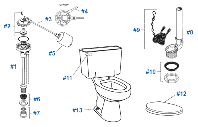 replacing toilet tank parts. Parts diagram for American Standard Cadet series toilet Toilet Repair Series Toilets