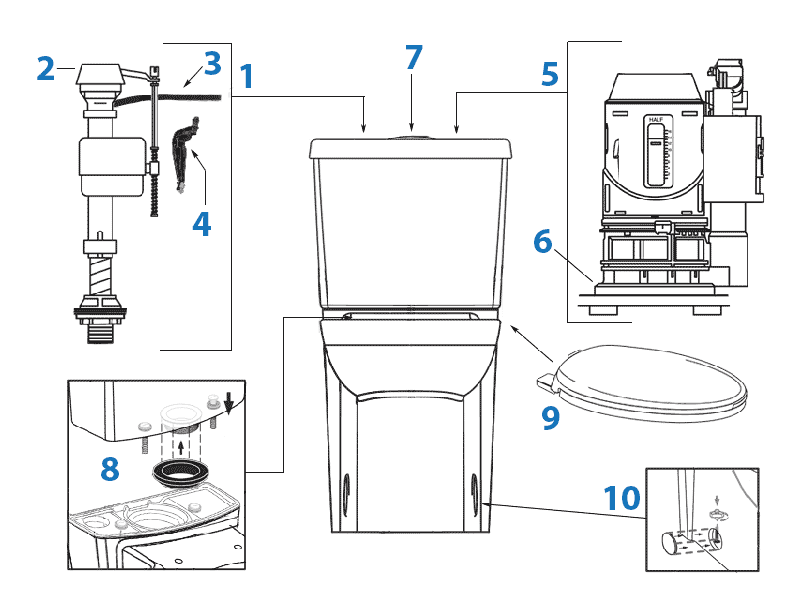 Repair parts diagram for American Standard Studio Cadet 3 dual flush toilets with concealed trapway