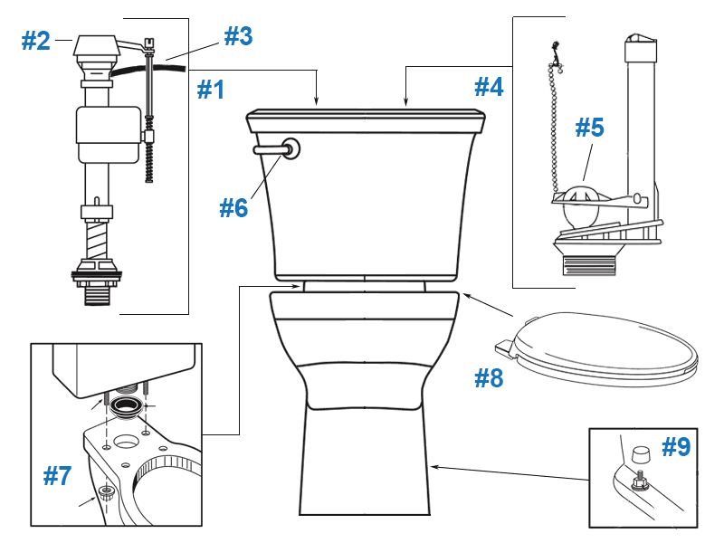 Repair parts diagram for American Standard Tropic Cadet PRO toilet - Tank # 4190A