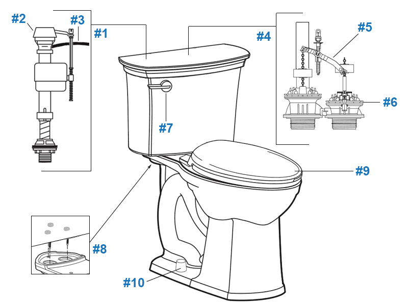 American Standard VorMax Series toilet parts diagram - tank #4370