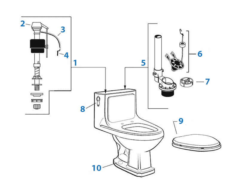 American Standard Williamsburg one-piece toilet repair parts diagram