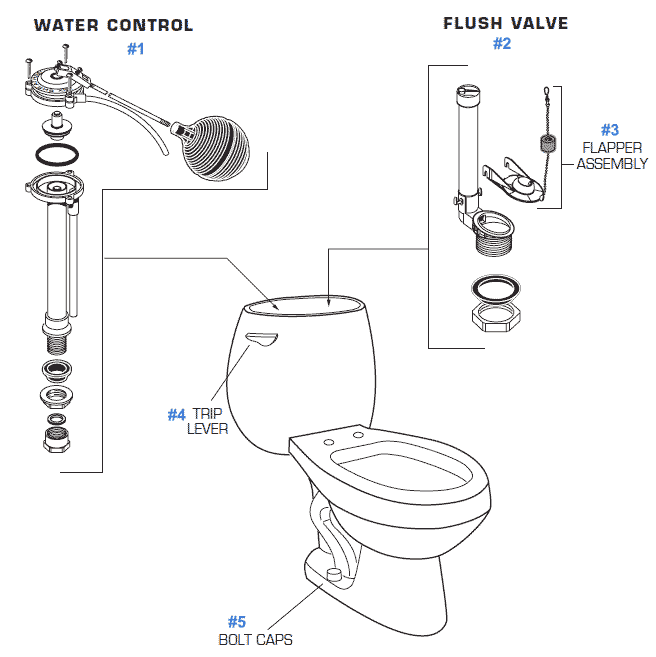 american standard calais series toilet repair parts