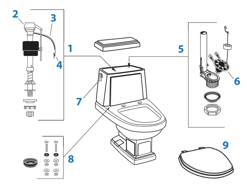 Repair parts diagram for American Standard Heritage two-piece toilet - tank #4074