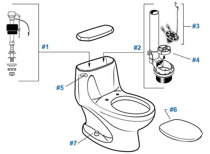 One Piece Eljer Toilet Parts : Toilet repair glacier bay parts