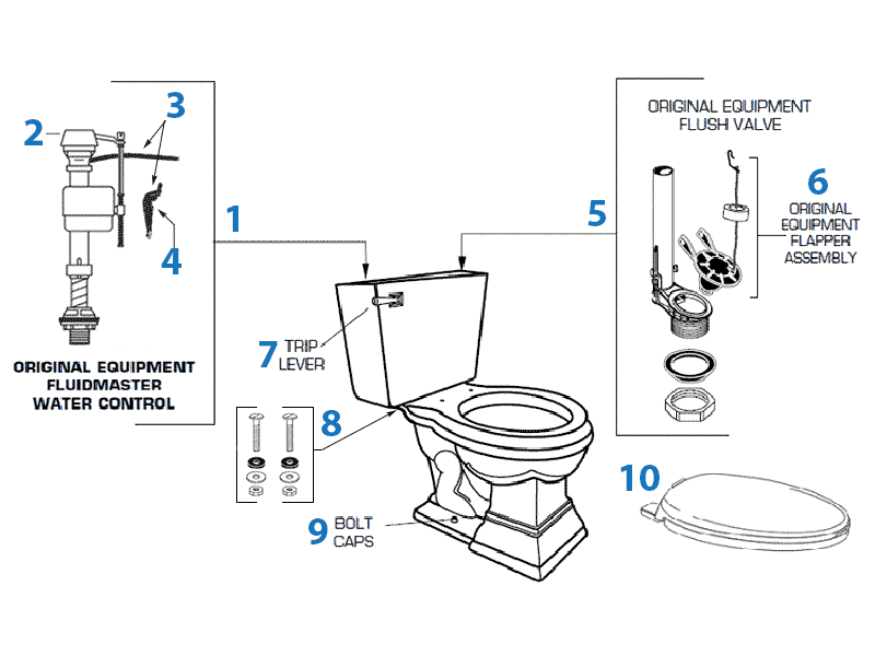 replacing toilet tank parts. Parts diagram for Town Square toilets American Standard Toilet Repair Series Toilets