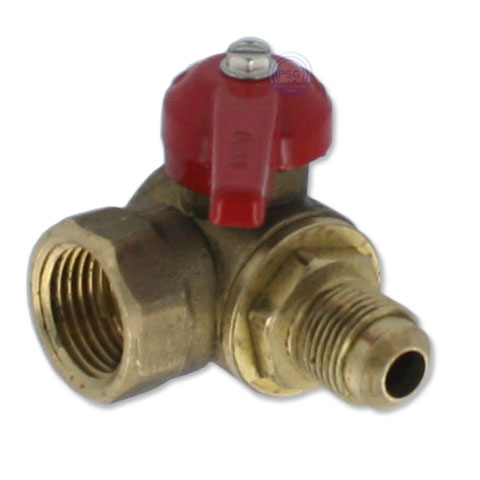 A picture of a flared angle gas shutoff valve