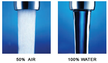 Comparison of aerated and non-aerated water stream