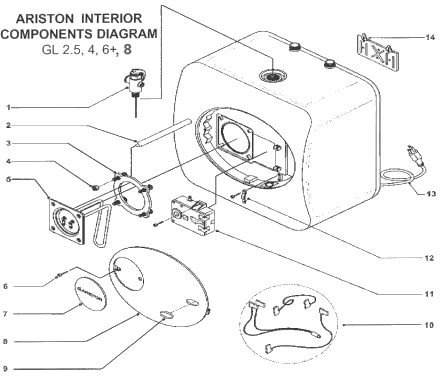Ariston GL 2.5, 4 and 6 components diagram