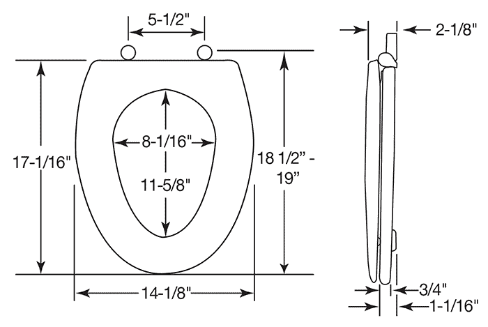 Dimensions of elongated toilet seat