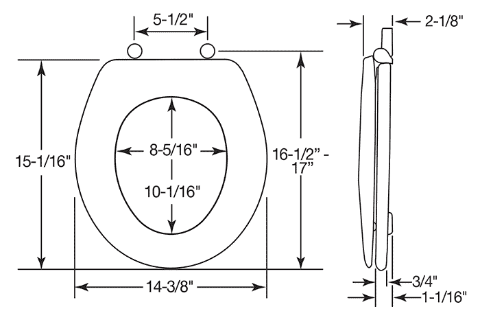 Dimensions of round toilet seat