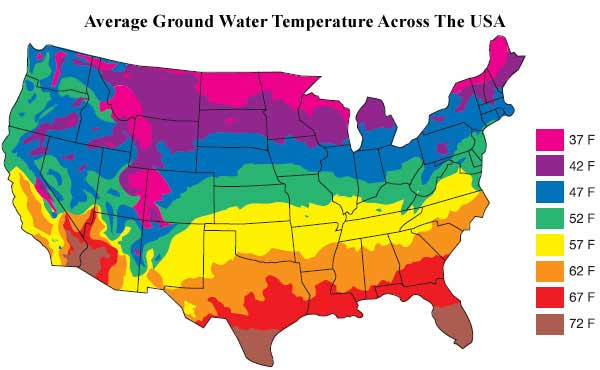 Chronomite InstantTemp Electric Tankless Water Heaters - Average temp map us
