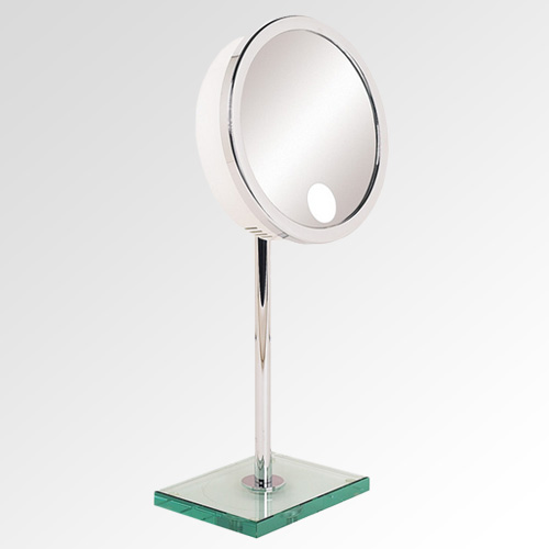 Luxury Vanity Bathroom Mirrors Adjustable Height Mirrors With Glass Base